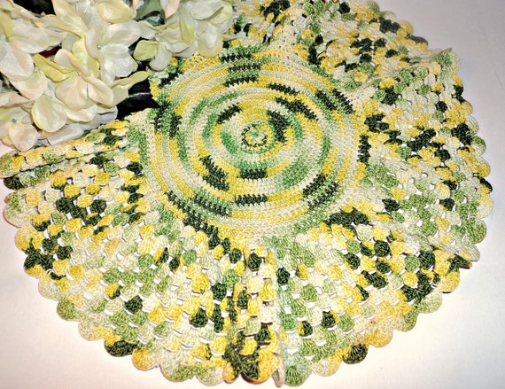 Crochet Doily Large Varigated Green Yellow Vintage Doilies Doily Lot A280