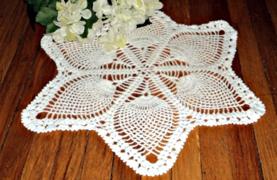 Crocheted Doily Large White Pineapple Vintage Crochet Doily  A298