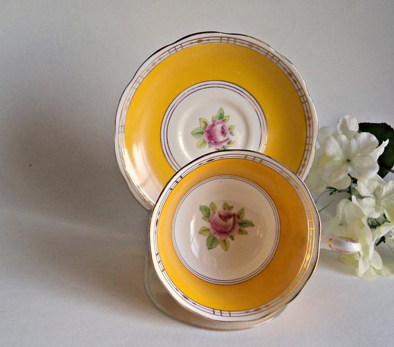 Tea Cup and Saucer  Royal Albert  Rose Tea Cup and Saucer Yellow Tea Cup and Saucer  Bone China Tea Cup and Saucer Teacup and Saucer