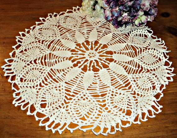 Crocheted Doily Large White Vintage Crochet Doily  A327