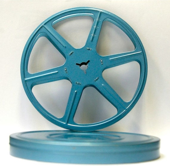 Vintage Blue Metal 16 mm Film Canister with Reel