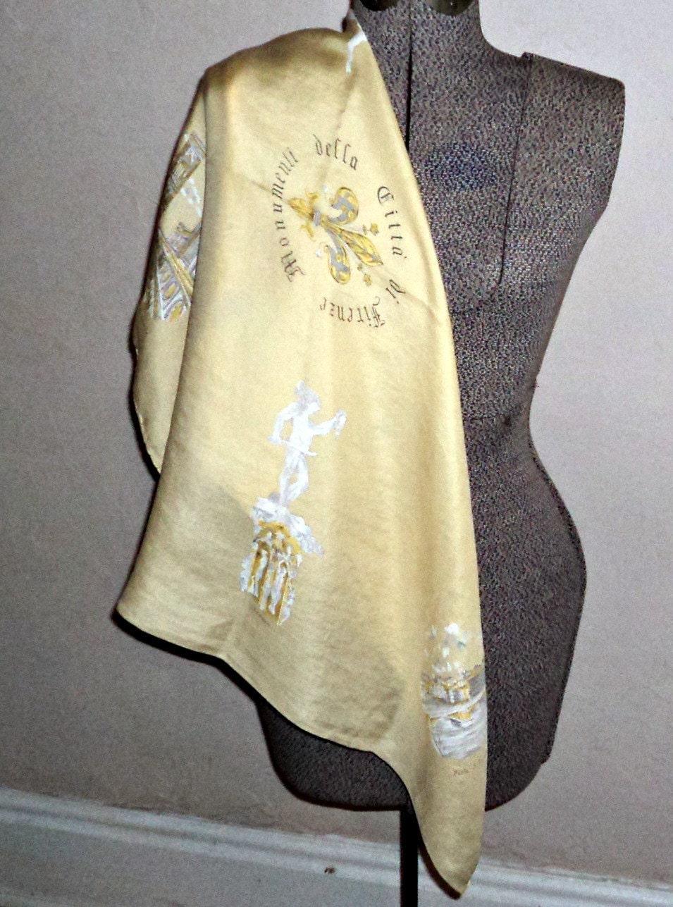 Vintage Silk Scarf Souvenir Scarf Firenze Italy Fashion Scarves B40 Vintage Silk Scarves Australia