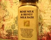 One Bath: Rose Milk & Honey Organic, Wildcrafted Essential Oil Milk Bath with Bulgarian Rose Otto, Moisturizing, Memorable, Marvelous, 4 oz.
