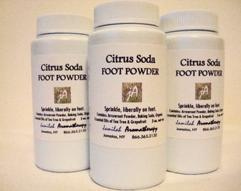 Invigorating Citrus Soda Foot Powder with Wildcrafted Essential Oils of Tea Tree Freshens Tired Feet That Need a Break, 3 oz.