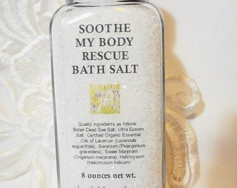 Soothe My Body Rescue Bath Salt with Organic & Wildcrafted Essential Oils of Lavender, Geranium, Sweet Marjoram, Reduces Stiffness, 8 oz.