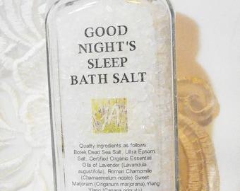 Good Nights Sleep Bath Salt - Premium Dead Sea Salt, Organic Essential Oils Soothe & Relax, Calm, Soften Skin - Lavender, Ylang Ylang, Sleep