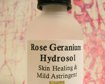SALE: Rose Geranium Organic Hydrosol, Humectant Face Toner, Oily/Dry Skin, Itchy, Skin, Astringent, Cooling Hydrosol, Pet Care, 100% Organic