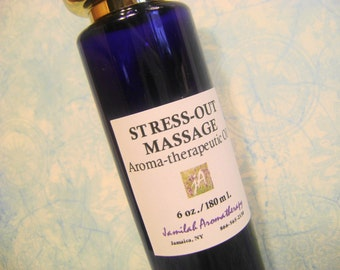 Stress-Out Massage - Organic & Wildcrafted Essential Oils Soothe the Senses, Relieve Stress - Frankincense, Lavender, Rich Skin Healthy Oils
