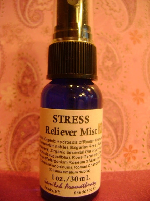 Anti-Stress Mist with Effective Organic Chamomile, Rose, Lavender - Fast Acting, Easy Carry, On The Go Use - Relax, De-stress, 1 oz./30 ml.