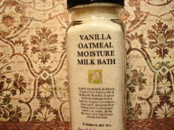 Bath Soak - One Bath: Vanilla Bourbon Wildcrafted Essential Oil & Oatmeal Milk Bath Softens, Moisturizes, Calms Skin Irritation, 4 oz.
