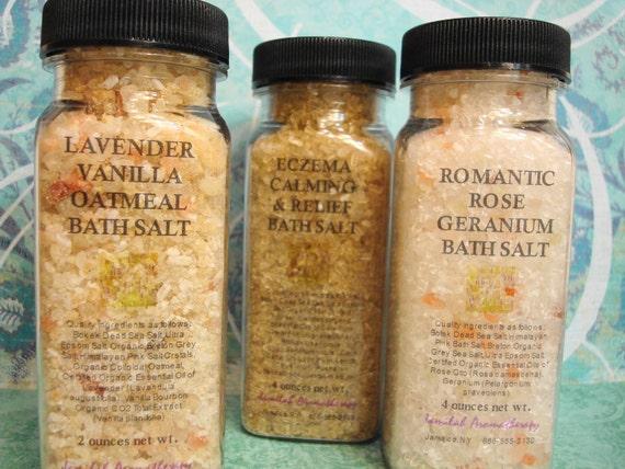 One Bath: 3 Salts - Lavender Vanilla, Eczema Calming & Romantic Rose Geranium with Organic/Wildcrafted Essential OIls, Bokek Dead Sea, 4 oz.