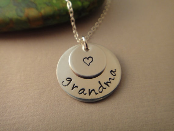 Sterling Silver Hand Stamped Two Pendant Grandma Grandmother Necklace
