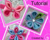 Kanzashi flower and butterfly boutique hair clip PDF tutorial, Instant download