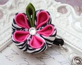 Hot Pink Zebra Print Kanzashi Flower Badge Holder Reel