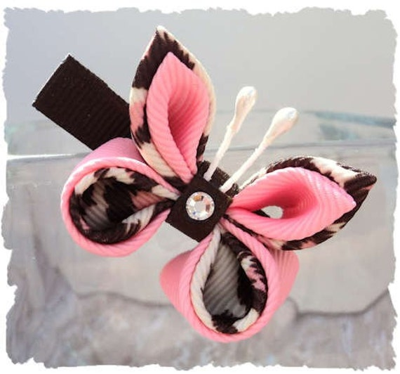 Butterfly hair clip pink and brown leopard print - Brown butterfly meaning money ...