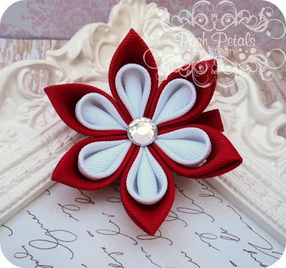 Red and White Kanzashi Flower Hair Clip