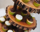 Rustic 3 tiered custom wood tree slice cupcake stand for wedding or party - Large Size