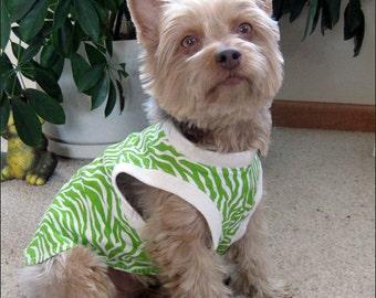 Dog Tank Top, Dog Sleeveless T Shirt, Lime Green Zebra Stripe