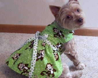 Lime Green Dog Harness Dress with Monkeys Design