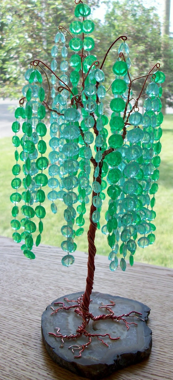 Green Crystal Gem Tree Sculpture