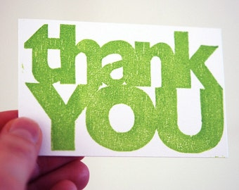 Letterpress Thank You card (set of 5), hand printed woodcut