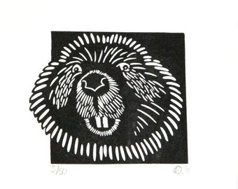 Linocut animals, beaver, bever, hand printed wall art, matted, ready to frame, woodland animal