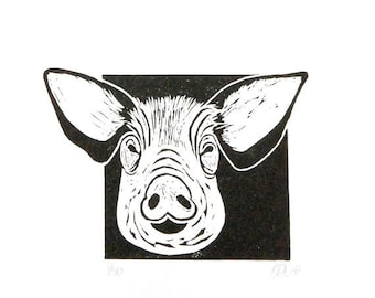 Linocut animals, hog, varken, hand printed wall art, matted, ready to frame, farm animal