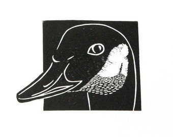Linocut animals, Canada goose, gans, hand printed wall art, matted, ready to frame, woodland animal
