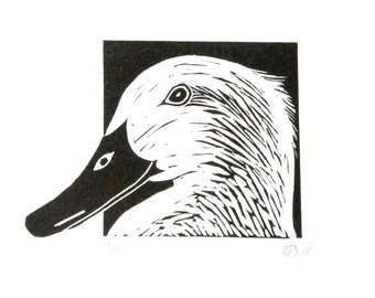 Linocut animals, duck, eend, hand printed wall art, matted, ready to frame, farm animal