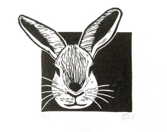 Linocut animals, rabbit, konijn, hand printed wall art, matted, ready to frame, farm animal, Easter bunny