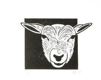 Linocut animals, sheep, schaap, hand printed wall art, matted, ready to frame, farm animal print