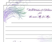 50% off Sale - INSTANT DOWNLOAD Printable Well Wishes and Advice Cards for the Bride and Groom - Peacock Feather flourish - DIY digital file