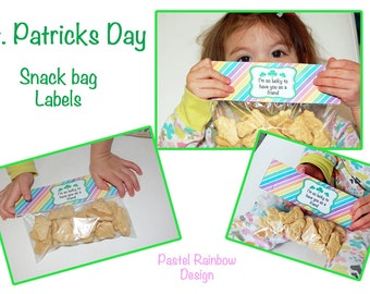 Saint Patricks Day Snack bag tags for your kids