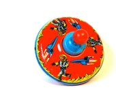 Space Themed Tin Toy Top  with Rockets and Spacemen