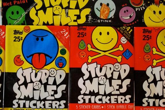 4 Stupid Smile Sticker Packs 1989 GPK