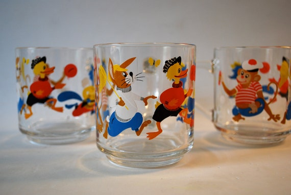 Glasses with Monkeys, Bunnys, Ducks, and Foxes made in France