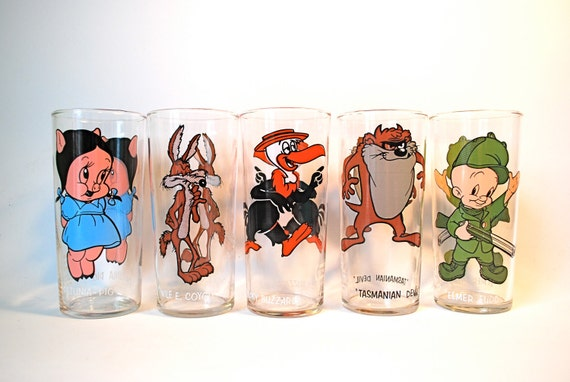 Vintage Warner Brothers Drinking Glasses Lot of 5