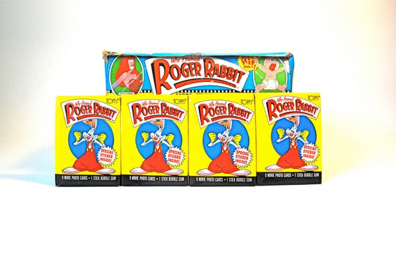 4 Who Framed Roger Rabbit Card & Sticker Packs Topps 1987