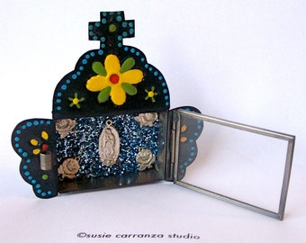 Handpainted Tin Nicho, Yellow and Red Flowers, with Virgen de Guadalupe Milagro, Rose Milagros, Blue Glitter.  Susie Carranza Studio