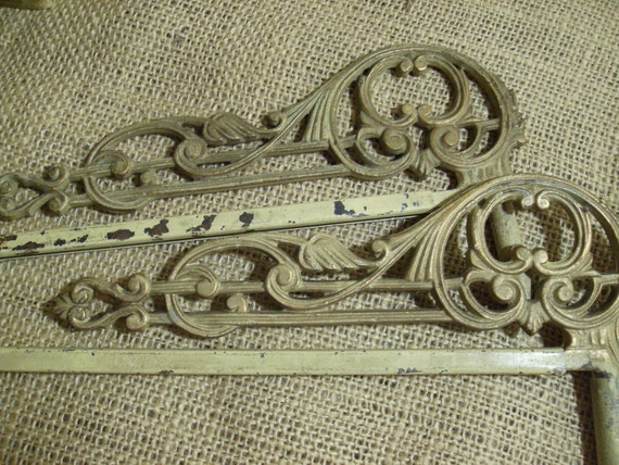 Antique shabby chic swing arm curtain rods by nannyloulousfarm - Shabby chic curtain poles ...