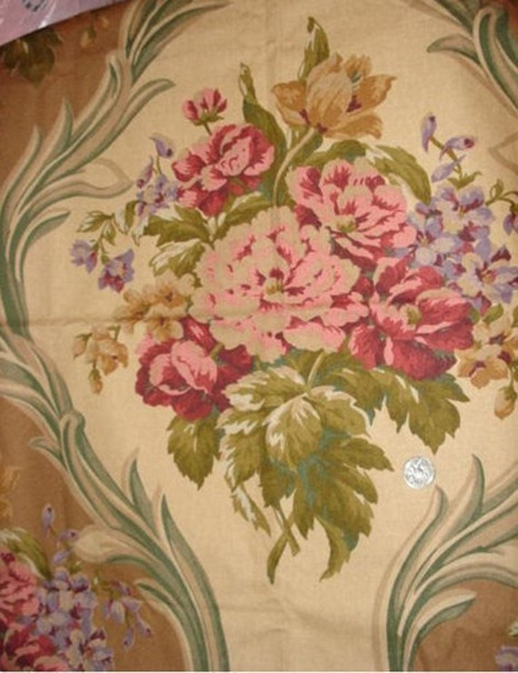 GORGEOUS Ralph Lauren Heavy Fabric Huge Bouquets barkcloth like design