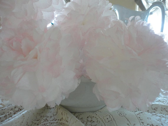 Handcrafted Pure White Peony with barely there Pink tips