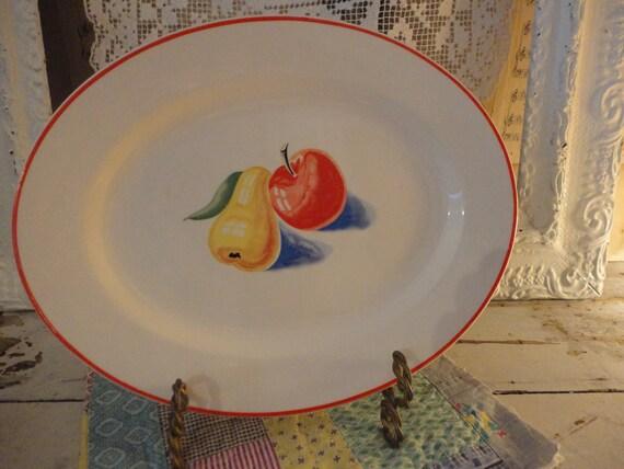 Harker antique Apple Pear Modern Platter Mint cond