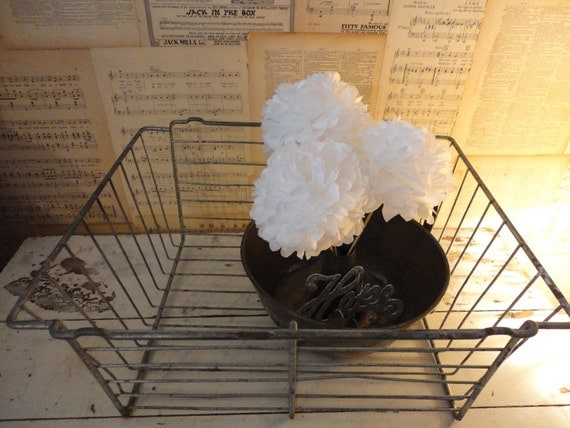 RESErVED 4 DONNA Large Industrial Heavy Metal Wire Basket
