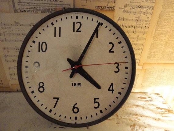 Vintage 1960s Industrial IBM Wall Clock