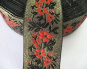 2 Yard - Vintage Floral Jacquard Ribbon Trim - Gold Black Red