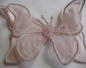 PINK BUTTERFLY  With Pink Beads and pin