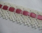 VINTAGE LACE Trim With PINK Ribbon