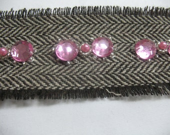 Wool fishbone Brown ribbon with big pink rhinsetone and beads