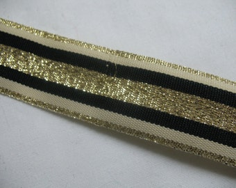 2 Yard - VINTAGE EMBROIDERED RIBBON double sided.